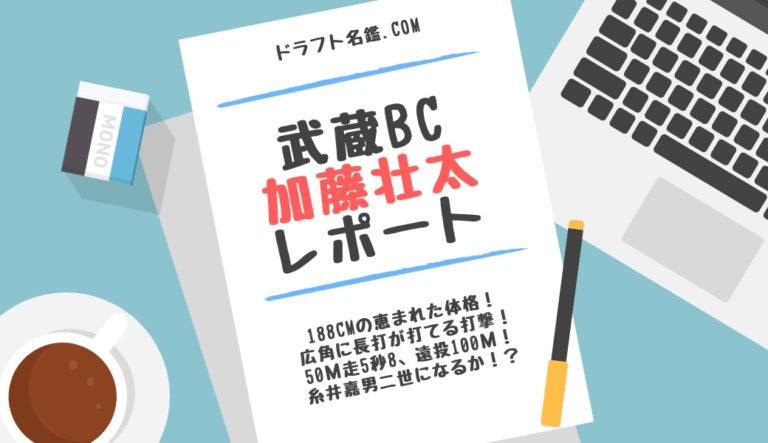 ドラフト2019候補 加藤壮太(武蔵ヒートベアーズ)指名予想・評価・動画・スカウト評価