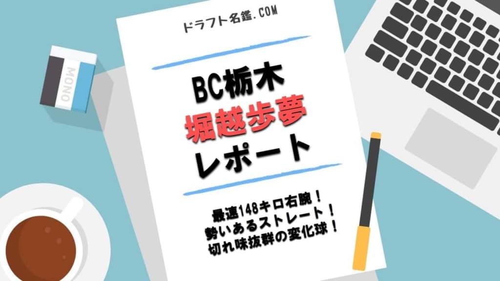 堀越歩夢(栃木ゴールデンブレーブス)指名予想・評価・動画・スカウト評価